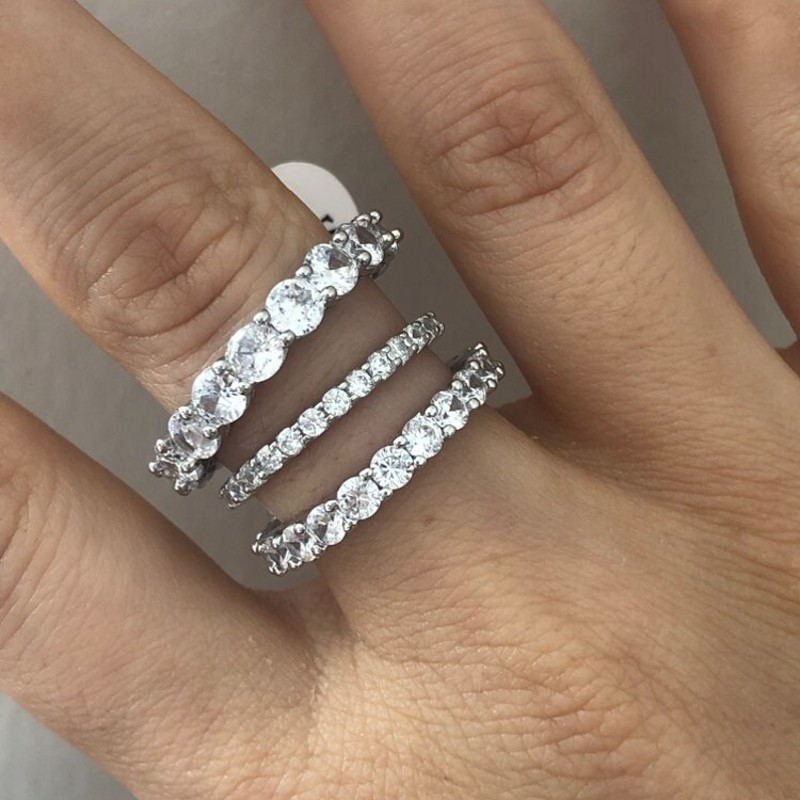 choucong Eternity Promise <font><b>Ring</b></font> 2/3/4mm diamond <font><b>925</b></font> <font><b>Sterling</b></font> <font><b>Silver</b></font> Engagement Wedding Band <font><b>Rings</b></font> <font><b>for</b></font> women <font><b>men</b></font> Party Jewelry image