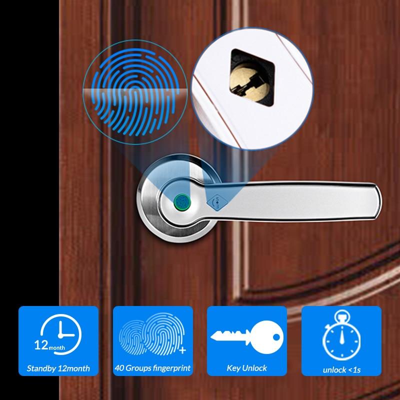 Smart Fingerprint Door Lock Electronic Keyless Entry Door Lock With Mechanical Key Unlock For Door Lock Security