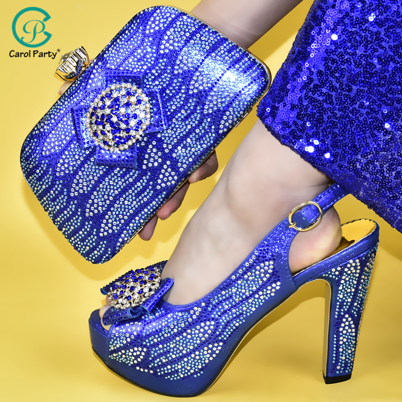 Royal blue Shoes and Bag African Sets Italian design lady shoe with Matching Bag Nigerian Women Shoes and Bag To Match for Party