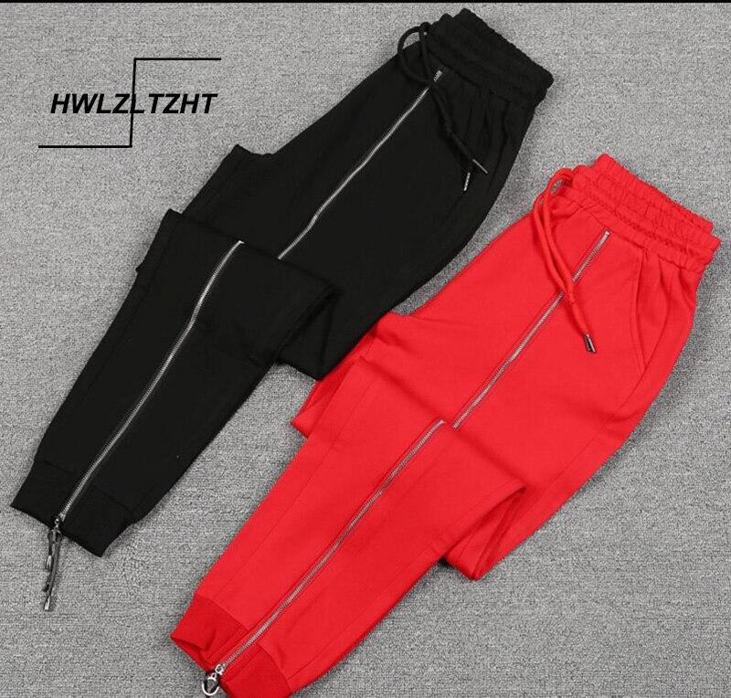 Black Red Elasticity Women's Sports Pants  Spring Slide Zipper Women's Trousers Hip Hop Female Cargo Pants For Women