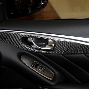 4Pcs Carbon Fiber Interior Door Panel Trim Cover Fit For Infiniti Q50 2014-2020