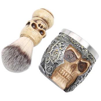 Męskie po goleniu po goleniu dla mężczyzn męskie golenie brody zestaw ze stali nierdzewnej miska do golenia głowa szkieletu szczotka do brody zestaw po tanie i dobre opinie Mężczyzna CN (pochodzenie)