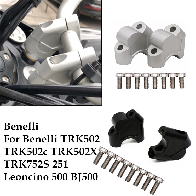 For Benelli TRK502 TRK 502 2016-2017 Motorcycle Accessories CNC Aluminium Handle Bar Clamp Raised Extend Handlebar Mount Riser