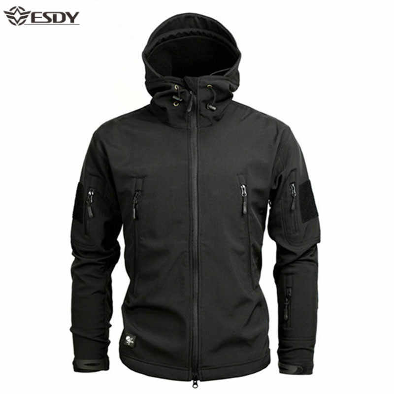 Haai Soft Shell Militaire Tactische Jas Mannen Waterdicht Warm Windjack Ons Leger Kleding Winter Big Size Mannen Camouflage Jas