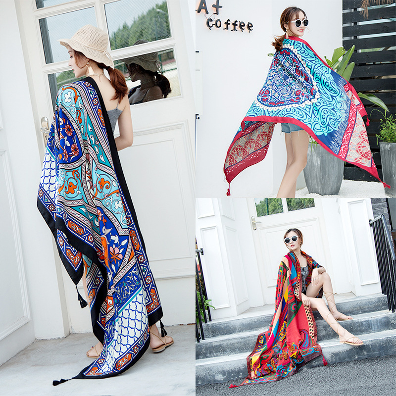 New Ethnic Wind Scarf Female Tassel Printing Large Shawl Spring And Summer Travel Silk Scarf Seaside Holiday Sunscreen Beach Tow