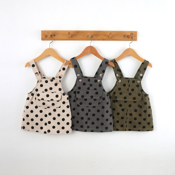Sleeveless Polka Dot Suspenders Dress