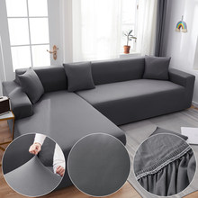 Light Gray Solid Color Sofa Cover For Living Room Funda Sofa All-inclusive Polyester Modern Elastic Corner Couch Slipcover 45009