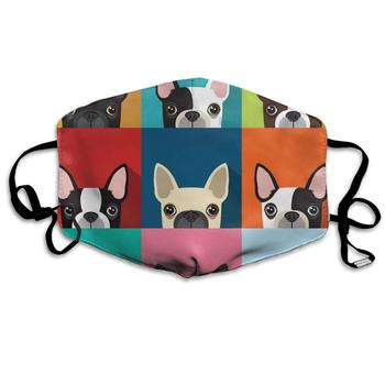Cartoon Boston Terriers Bulldog Washable Reusable   Mask, Cotton Anti Dust Half Face Mouth Mask For Kids Teens Men Women With french bulldog traces and heart flag washable reusable mask cotton anti dust half face mouth mask for kids teens men women