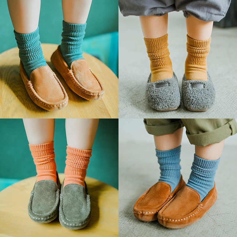 Chaussettes pour enfants corée du sud INS mode chaussettes pour enfants 2018 automne nouveau Style couleur unie pompage Tube coton chaussettes