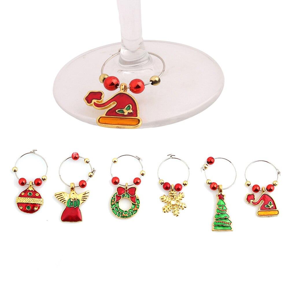 Рождественские украшения для дома, винный бокал, знак вечерние, 2019, Новогодняя чашка, кольцо для стола, Санта-Клаус, Рождество, колокольчики, ...