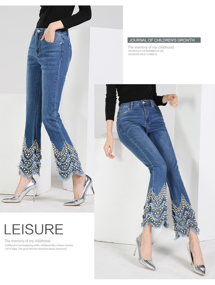 KSTUN FERZIGE Jeans for Women high waist blue elasticity flare pants embroidered beads luxury sexy female trousers brand jeans mujer 12
