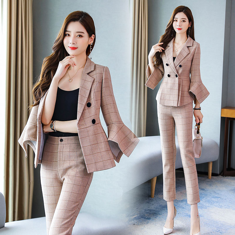 WOMEN'S Suit 2019 Autumn New Style Women's Fashion Western Style Woolen Plaid Coat Bell Sleeve Small Suit Two-Piece Pants