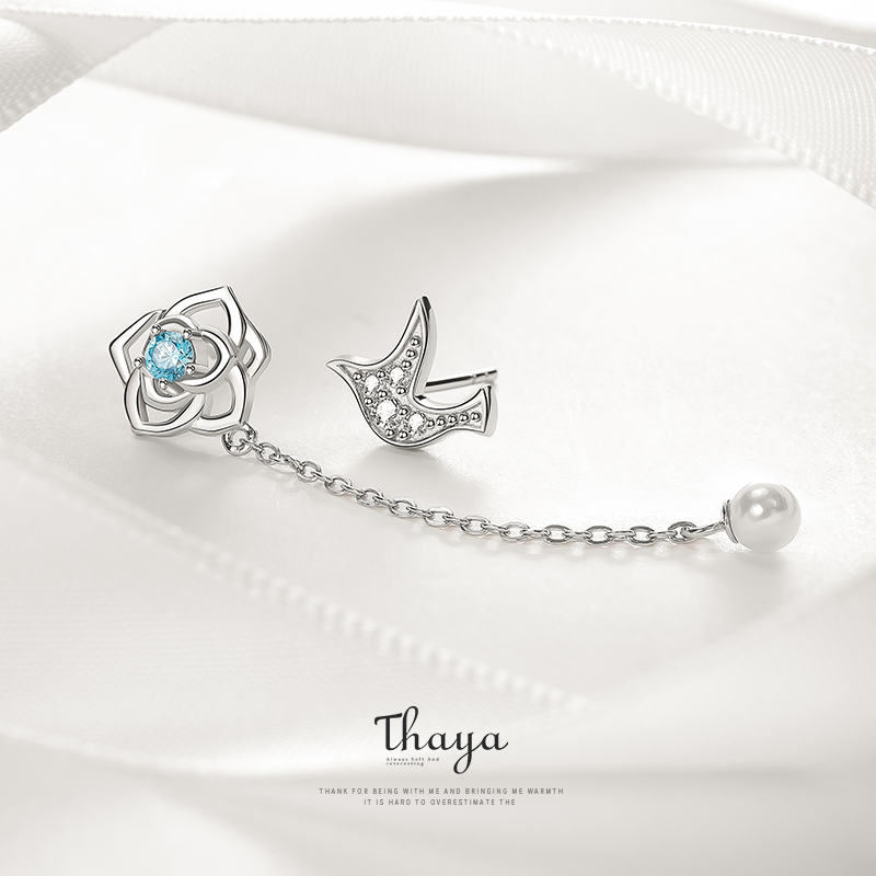 Thaya Dove Flower Design Earrings Crystal Anniversary Zirconia Earrings S925 Silver For Women Silver 925 Jewelry Fine Jewelry