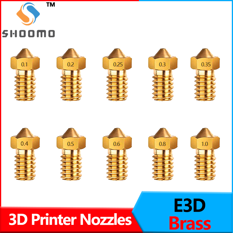 1pc Long M6 Thread Plated Copper Nozzle 0.4mm Non-Stick High Performance for 1.75mm Volcano Heater Block hotend Artillery Sidewinder 3D Printing PEI PEEK or Carbon Fiber