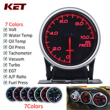 2 Inch 52MM Auto Gauge Meter Ext Temp Turbo Boost Oil Press Water Temp Oil Temp RPM Trans Temp AFR Gauge With Stepper Motor цена