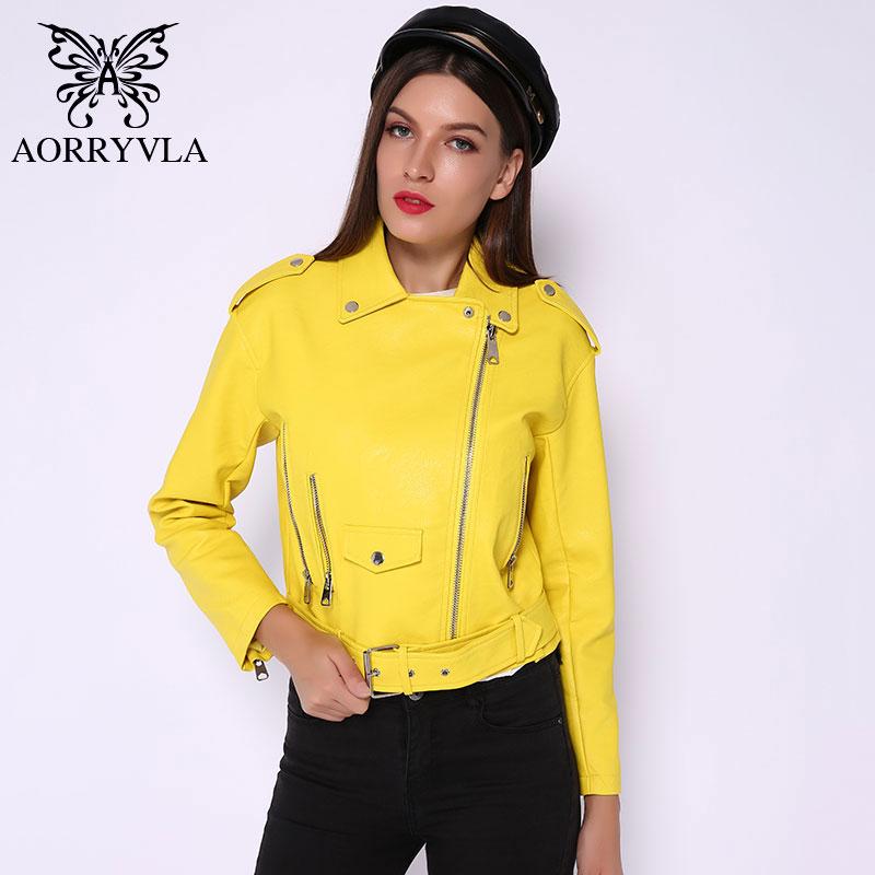 AORRYVLA Faux Leather Moto Women's Leather Jackets Yellow Ladies Leather JacketAsymmetrical Faux-Leather Jacket Spring 2020