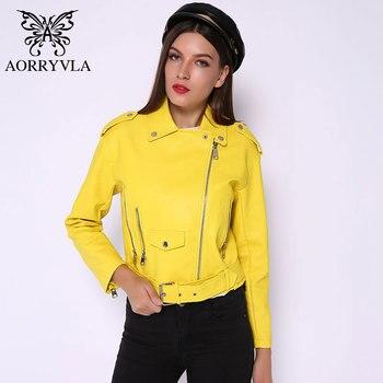 AORRYVLA Faux Leather Moto Women's Leather Jackets Yellow Ladies Leather JacketAsymmetrical Faux-Leather Jacket Spring 2020 фото