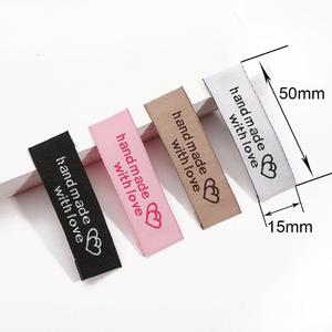 20pcs Garment Label Fabric Handmade Tags 50x15mm Colorful Tag for Cloth Bag Hat Handcraft Sewing Accessories
