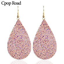 Cpop Pink Shiny Real Goat Leather Earring for Women Fashion Elegant Glitter Water Drop Earring Jewelry Leather Accessories 2019 цена