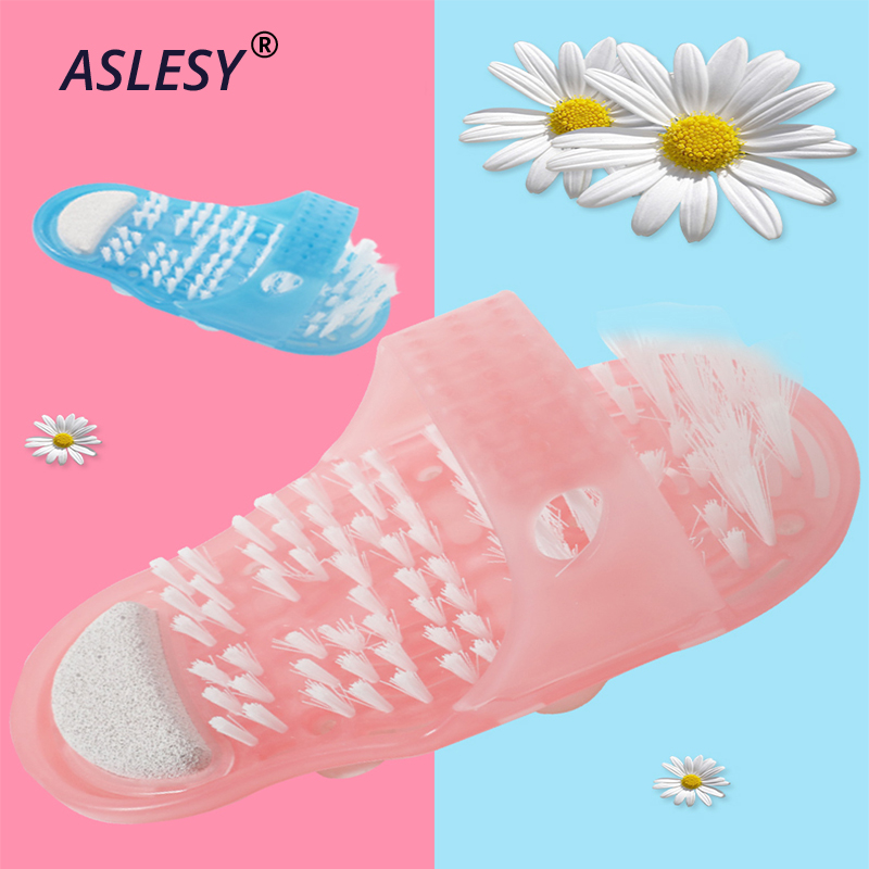 Bath Shower Feet Massage Slippers Bath Shoes Scrubber Brush Pumice Stone Foot Remove Dead Skin Care Tools Bathroom Accessories