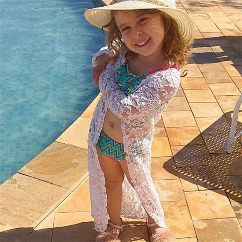Girls Beach Dress Toddler Kids Baby Girls Floral Lace Sunscreen Beach Dress Bikini Cover Up Swimming Clothes Outerwear