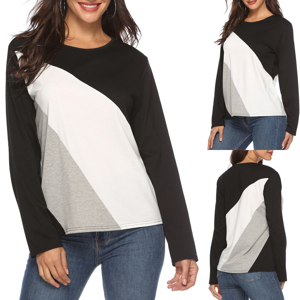 Women's Patchwork Panelled Concise Office Hoodies Camisola Causal Round Neck Long Sleeve Ladies Top Sweatshirts Pullovers