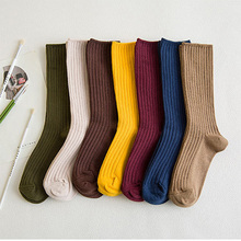 2019 New Cotton Women Socks Solid Color Black Khaki Beige Pink Casual Harajuku F