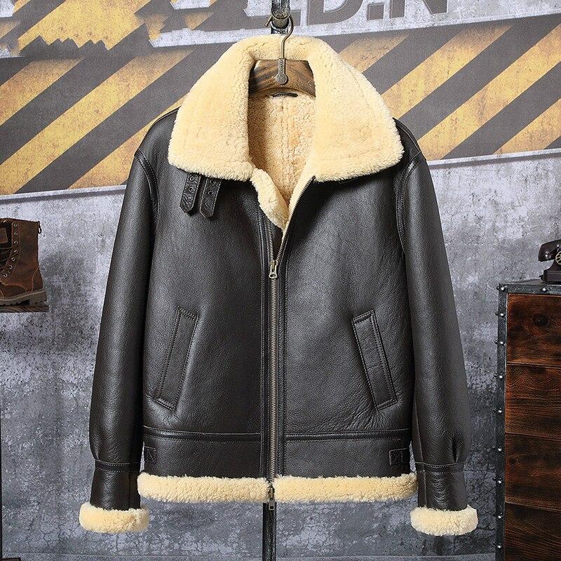 2019 New Mens Brown B3 Shearling Jacket Thicken Sheepskin Coat Winter Fur Coat Mens Genuine Leather Jacket Motorcycle Jacket