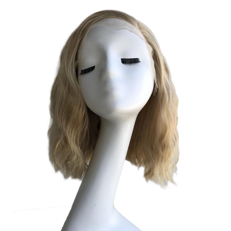 RONGDUOYI court ondulé mélange Blonde synthétique dentelle avant perruques pour les femmes partie latérale vague naturelle haute température Fiber Blonded perruque