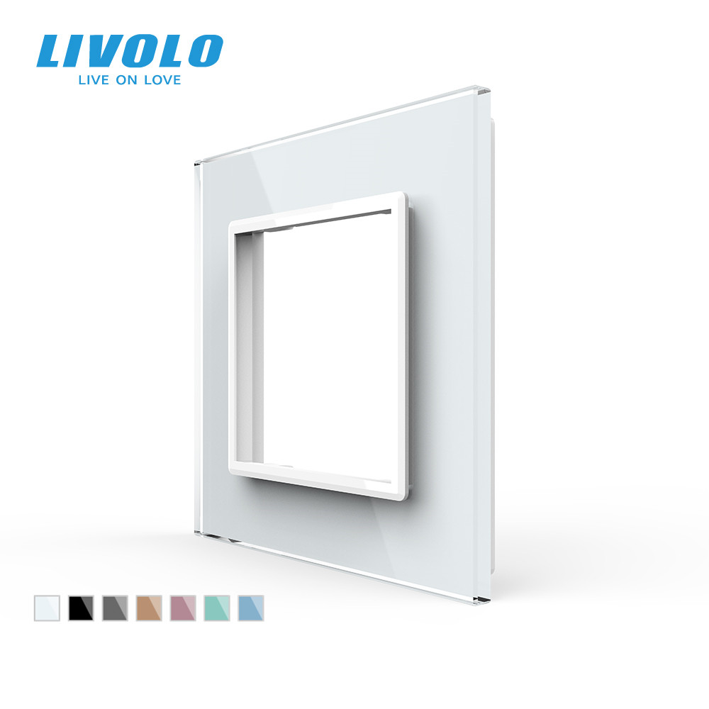 Livolo Luxury White Pearl Crystal Glass 80mm 80mm EU standard Single Glass Panel For Wall Switch SocketVL-C7-SR-11