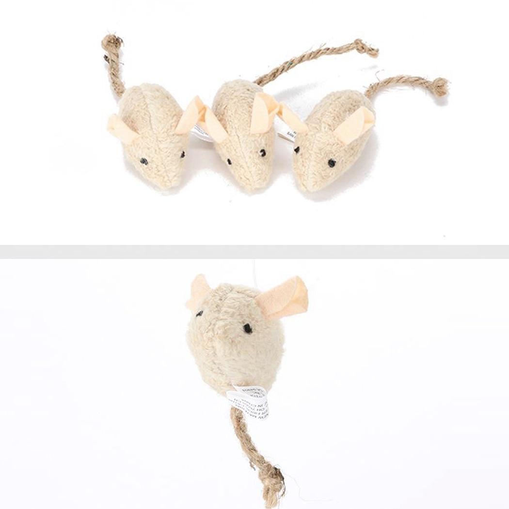 3pcs New Plush Simulation Mouse Cat Toy Plush Mouse Cat Scratch Bite Resistance Interactive Mouse Toy