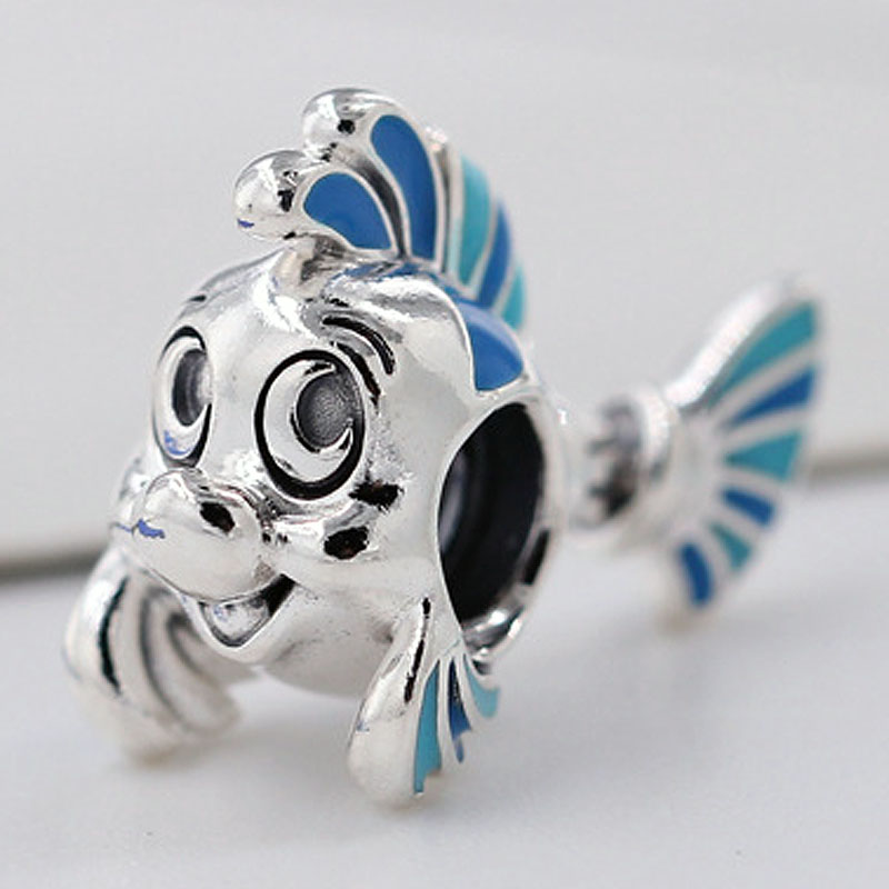 Original Blue Enamel The Little Mermaid Flounder Beads Fit 925 Sterling Silverl Bead Charm Pandora Bracelet Bangle Diy Jewelry(China)