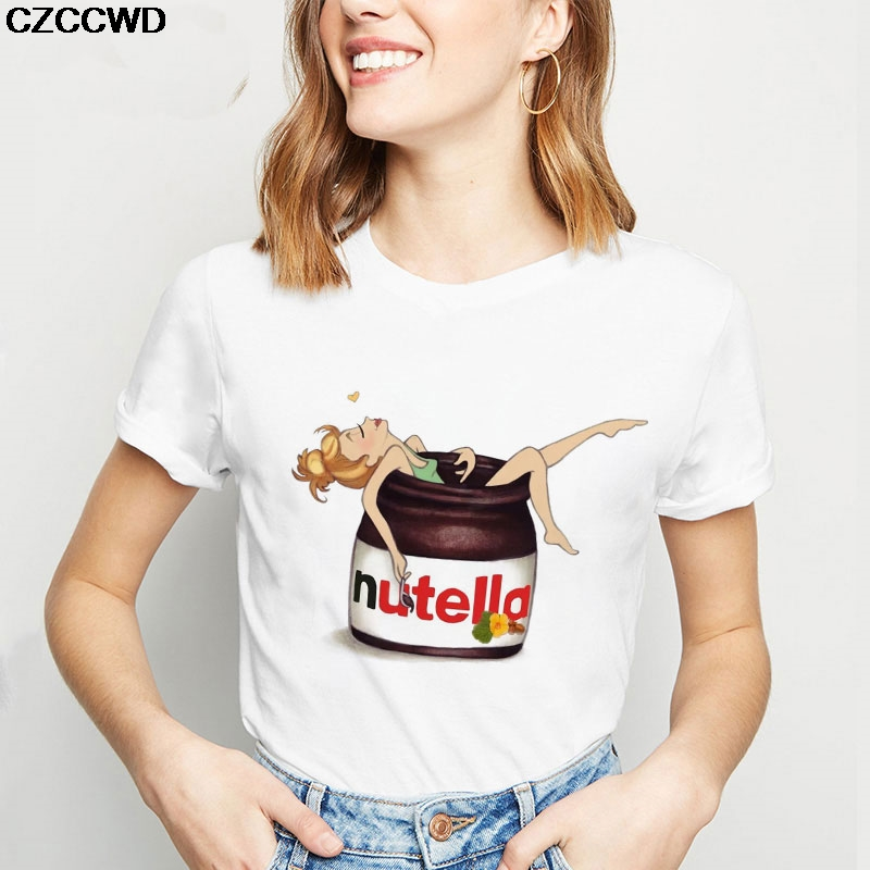 CZCCWD Women Clothes 2019 Streetwear White T Shirt Harajuku Fashion Nutella Princess Shower Letter Tshirt Leisure Female T-shirt