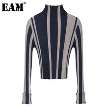 [EAM]-suéter tejido Vintage a rayas para mujer, Jersey holgado con cuello falso de manga larga, jerséis para mujer, moda para Otoño e Invierno 2021 1DC118