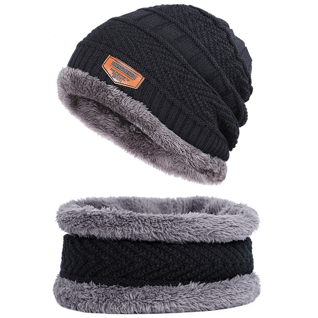 Winter hat Peas man scarf set plus velvet thick men's face caps hood woman outdoor ear protection neck warm scarf knitted hat 2