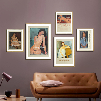World Famous Amedeo Modigliani Exhibition Poster And Print Vintage Canvas Painting Wall Art Nude Pictures Retro Home Decoration image