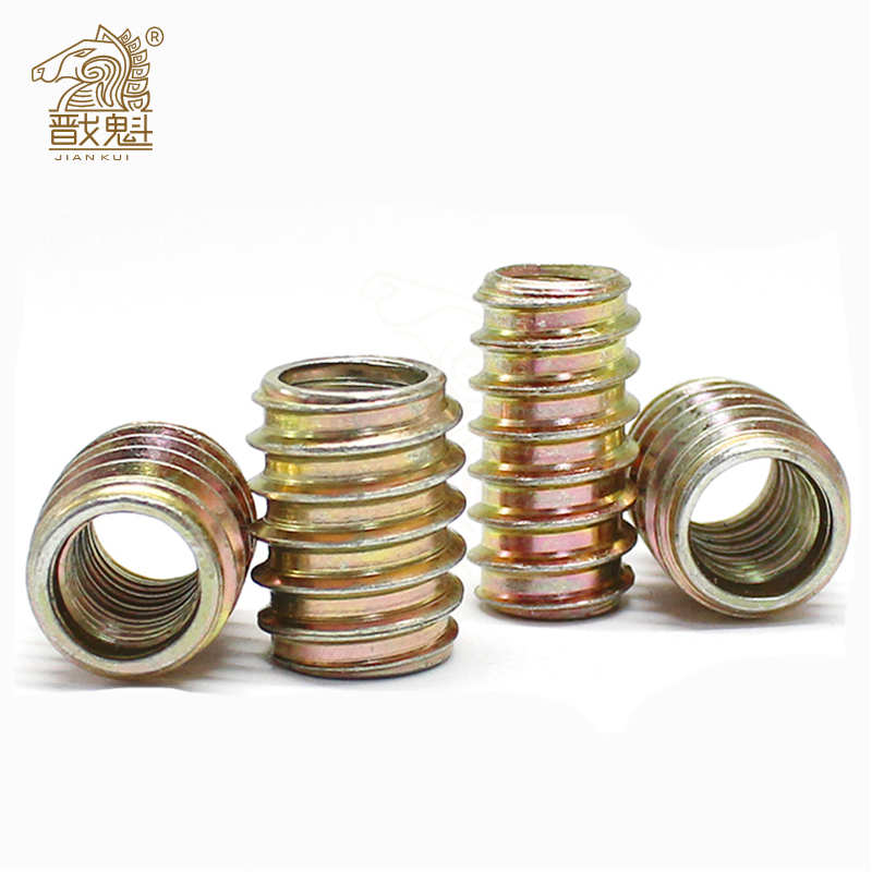 M4 M5 M6 M8 M10 Furniture Pass-through Drive Unhead Threaded Nut Color Zinc Plated Carbon Steel Wood Insert Nuts
