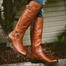 Новинка весны/осень Женские сапоги до колена на молнии ботинки Rome острый носок квадратный каблук повышенной Для женщин ботинки модные сапоги для вечеринок