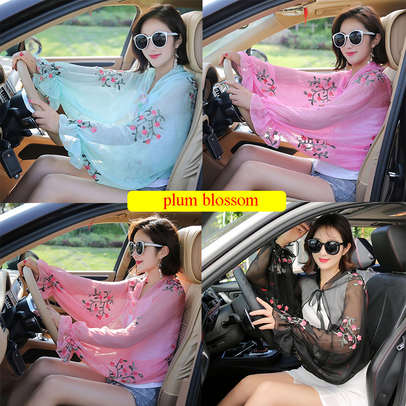 Summer Chiffon Scarf For Women Ruffles Long Sleeve Poncho Floral Printed Elegant Women Shawls Outdoor Driving Sunscreen Shawls