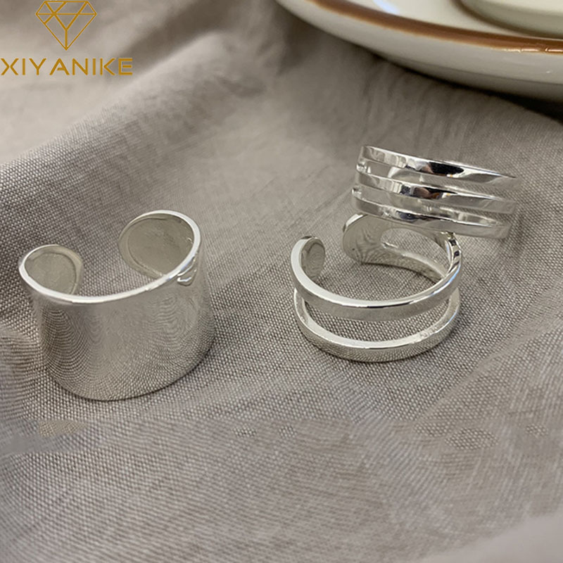 XIYANIKE Prevent Allergy 925 Sterling Silver Fashion Simple Opening Ring For Women Multilayer Width Ring Jewelry Party Accessore