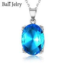 BaliJelry elegancki naszyjnik ze srebra próby 925 biżuteria owalny szafirowy kamień wisiorek akcesoria dla kobiet ślub zaręczyny hurtowych