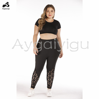 Aygaiyigu Big Size Lace Leggings for Women Plus Size Hollow Out Leggings High Waist Skinny Fashion Ladies Elastic Sport Pants