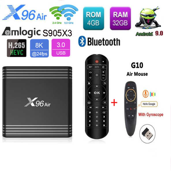 X96 Air Amlogic S905x3 Tv Box Android 9.0 Quad Core 2.4 & 5G Wifi Optionele Bluetooth Ondersteuning 8K google Tv Media Player