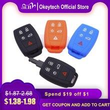 OkeyTech 5 버튼 실리콘 자동차 키 보호기 케이스 커버 볼 보 XC90 C70 S60 D5 V50 S40 C30 자동 키 Fob 홀더 고품질