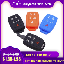 Okeytech 5 Knoppen Siliconen Autosleutel Protector Case Cover Voor Volvo XC90 C70 S60 D5 V50 S40 C30 Auto Key fob Houder Hoge Kwaliteit
