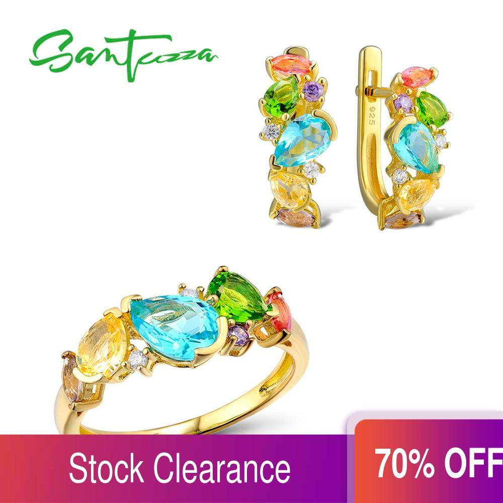 SANTUZZA Silver Jewelry Set For Woman Fancy CZ Glass Unique Delicate Ring Earrings Set 925 Sterling Silver Fashion Jewelry