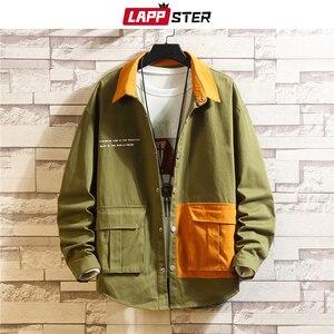 Image 2 - LAPPSTER erkekler kore modası ceketler 2020 sonbahar erkek japon Streetwear renk blok rüzgarlık Harajuku haki mont artı boyutu