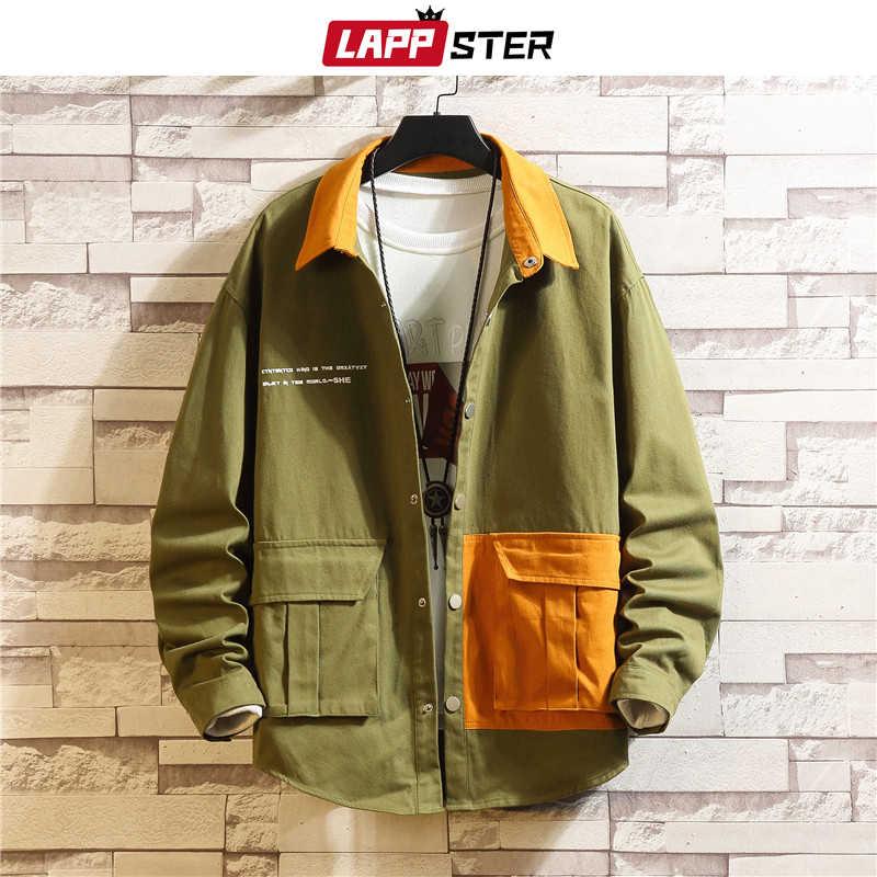 Lappster masculino coreano fashions jaquetas 2020 outono masculino japonês streetwear cor bloco blusão harajuku cáqui casacos mais tamanho