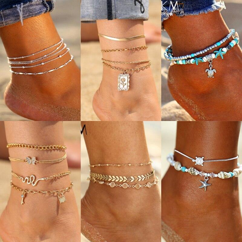 Новый винтажный комплект ножных браслетов, модные ножные браслеты для женщин 5 шт./компл., многослойный регулируемый браслет на ногу, 2020 брас...