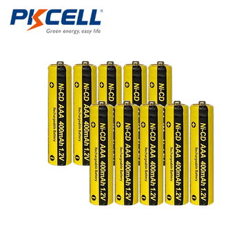 10Pcs PKCELL Nicd Battery AAA 400mah 1.2V Rechargeable Battery Button Top For Grass Cutter Solar Lawn Lamp Solar Street Lamp